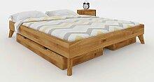 Schubladen Bett aus Wildeiche Massivholz Kopfteil