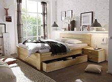 Schubladen Bett Kernbuche massiv 140x200 cm auch