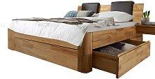 Schubladen Komfortbett aus Kernbuche Massivholz