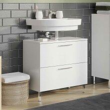 Schubladen Waschtischschrank in Weiß 60 cm breit