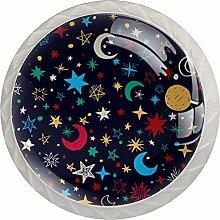 Schubladengriffe mit bunten Sternen, Mond, für