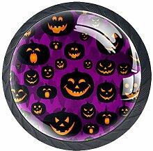 Schubladengriffe mit Halloween-Kürbis-Motiv,