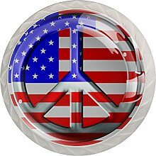 Schubladengriffe mit Peace-Zeichen, amerikanische