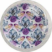 Schubladenknäufe, ABS-Glas, Violett, 4 Stück