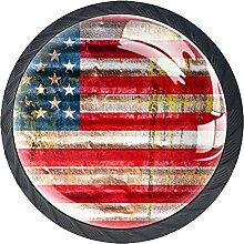 Schubladenknäufe, amerikanische Flagge, Glas,