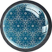 Schubladenknäufe, dunkelblaues Muster, Glas,