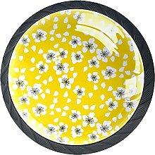 Schubladenknäufe, nahtloses Muster auf gelbem