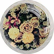 Schubladenknäufe, rund, Glas, mit Schrauben, 4