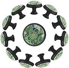 Schubladenknäufe, rund, Paisleymuster, Glas, Grün