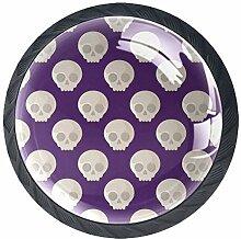 Schubladenknäufe, Totenkopf, Glas, rund, mit