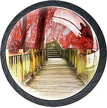 Schubladenknauf, 35 mm, Glas, roter Ahorn, Baum,