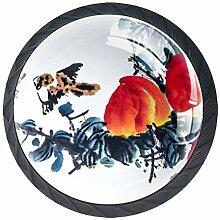 Schubladenknauf aus Glas, rund, mit Schrauben, 4