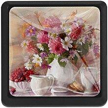 Schubladenknauf mit Blumen in einer Vase, 3 Stück