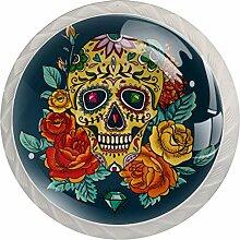 Schubladenknauf mit Blumen- und Totenkopf-Motiv,