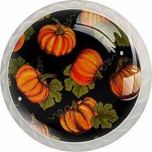 Schubladenknauf mit orangefarbenem Kürbismuster,