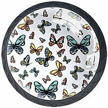 Schubladenknauf, rund, Glas, mit Schrauben, 4