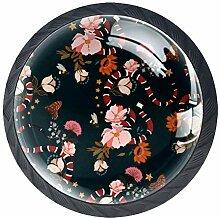 Schubladenknöpfe aus Glas mit Blumen, rund, mit