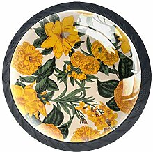 Schubladenknöpfe aus Glas mit Blumenmotiv, rund,