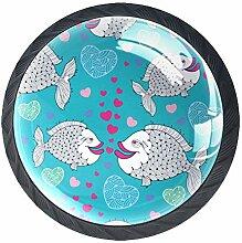 Schubladenknöpfe aus Glas mit Cartoon-Fischen,