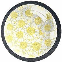 Schubladenknöpfe aus Glas mit gelben und weißen
