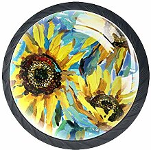 Schubladenknöpfe aus Glas mit Sonnenblumen-Motiv,