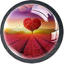 Schubladenknöpfe in Herzform, rote Blumen, Glas,