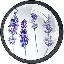 Schubladenknöpfe Lavendel Blumen Glas Pull Griff