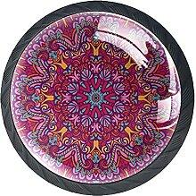 Schubladenknöpfe mit Mandala-Blumenmuster, Glas,
