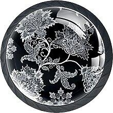 Schubladenknöpfe mit schwarzen Blumen, rund, für
