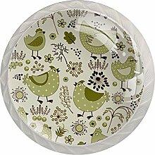 Schubladenknöpfe, rund, Glas, mit Schrauben,