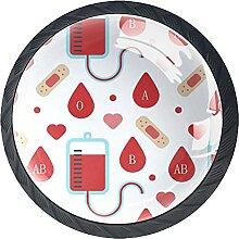 Schubladenknöpfe spenden Blutgruppen Schrank