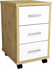 Schubladenschrank mit Rollen Eichenoptik Weiß -