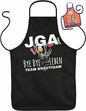 Schürze Junggesellenabschied Kochschürze Hochzeit : JGA Tour Bye Bye …Leben Team Bräutigam -- Partzyschürze Junggesellen mit Minischürze für Flaschen