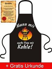 Schürze - Mann mit Grill sucht Frau mit Kohle - Lustige Grillschürze Kittel Schurz