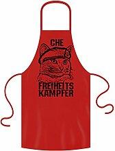 Schürze mit Motiv : Che Freiheitskämpfer Katzen-Motiv - Geschenk für Katzenliebhaber :: Grillschürze Kochschürze : Geschenkidee für Sie und Ihn Frauen Männer Farbe: ro