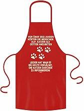 Schürze mit Motiv : Katzen als Götter verehrt : Geschenk für Katzenliebhaber :: Grillschürze Kochschürze : Geschenkidee für Sie und Ihn Frauen Männer Farbe: ro