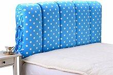 Schützen Sie die Taille lässigen Kissen Bett große Kissen abnehmbare und waschbare Doppelbett zurück Kissen Lendenwirbelstütze Bedside Rückenlehne Nachttisch, blau weiß Dot QLDX-Cushions ( größe : 200*60cm )