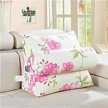 Schützen Sie die Taille lässigen Kissen bringen Kopfstütze Dreieck groß Unterstützt durch Sofa Bettseite Kissen Lordosenstütze Kissen Kissen gemütlich genießen Rosa Blumen QLDX-Cushions ( größe : 60*22*50cm )