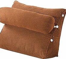 Schützen Sie die Taille lässigen Kissen Dreieck Kissen / Kissen mit abnehmbarem Bezug und Kissen, im Bett / Sofa / Büro / Haus / Auto, die für Lenden- / Rückenlehne / Lesekissen, Braun verwendet werden kann QLDX-Cushions ( größe : 60*50*22cm )