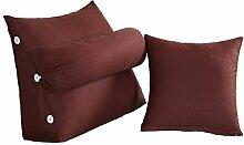 Schützen Sie die Taille lässigen Kissen Dreieck Kissen / Kissen mit abnehmbarem Deckel und Kissen, im Bett / Sofa / Büro / Haus / Auto, die für Lenden- / Rückenlehne / Lesekissen verwendet werden kann, braun (1 Dreieck Kissen +1 Kissen) QLDX-Cushions ( größe : A )