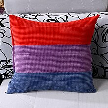 Schützen Sie die Taille lässigen Kissen kreativ Kissen Büro Sofa Kissen Auto Lordosenstütze Kord Dreifarbige Nähte Fühlen Sie sich wohl Gefüllte Voll 45cm * 45cm QLDX-Cushions ( Farbe : #5 )