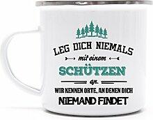 Schützenverein bedruckte Metalltasse Emaille