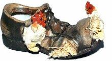 Schuh mit Henne, 13x7x6cm