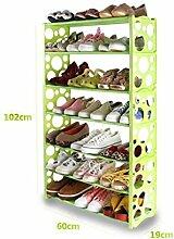 Schuh-Rack Freie Kombination Einfache Schuh-Rack Plastic Regal Storage Schuh Schrank, 7 Tiers / Grün / 60 * 19 * 102cm