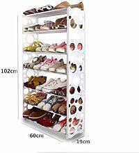 Schuh-Rack Freie Kombination Einfache Schuh-Rack Plastic Regal Storage Schuh Schrank, 7 Tiers / Weiß / 60 * 19 * 102cm