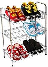 Schuh Rack Metall Edelstahl Schuh Schrank Lagerung Regal 3 Stufen Lagerung Schrank Organisieren / L50 * W25 * H68cm) ( größe : 75*25*68cm )