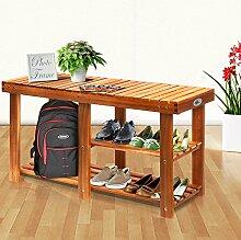 Schuhbank Schuhständer Schuhablage | massives Akazie Hartholz | 3 Etagen | bis 200kg belastbar | vielseitig nutzbar | (BxHxT) 87x45x28 cm - Schuhregal Sitzbank Schuhschrank Badregal Regal