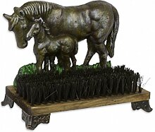 Schuhputzer Schuhbürste Pferde Pferd Fohlen Gusseisen Figur Skulptur Eisen Deko