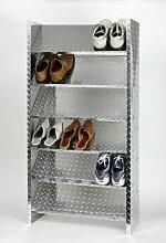 Schuhregal ALU, 125 x 60 x 26 cm, 18 Paar, 6 Böden, glänzend