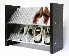 Schuhregal ALU, 48 x 60 x 26cm, 6 Paar, 2 Böden, Bicolor